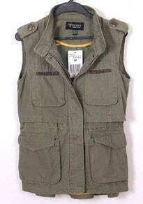 Green High Neck Sleeveless Pockets Cotton Outerwear
