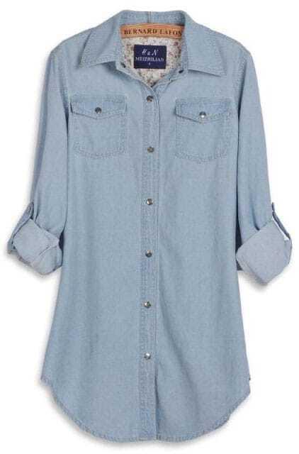 c776d5338ed Light Blue Double Pockets Long Sleeve Curved Hem Denim Blouse -SheIn( Sheinside)