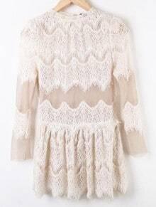 Apricot Lace Hollow Pleated Mid Waist Chiffon Dress