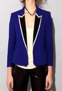 Royal Blue Contrast Collar Long Sleeve Side Vent Back Blazer