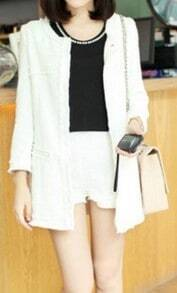 White Three Quarter Length Sleeve Fringe Trims Tweed Coat with Shorts