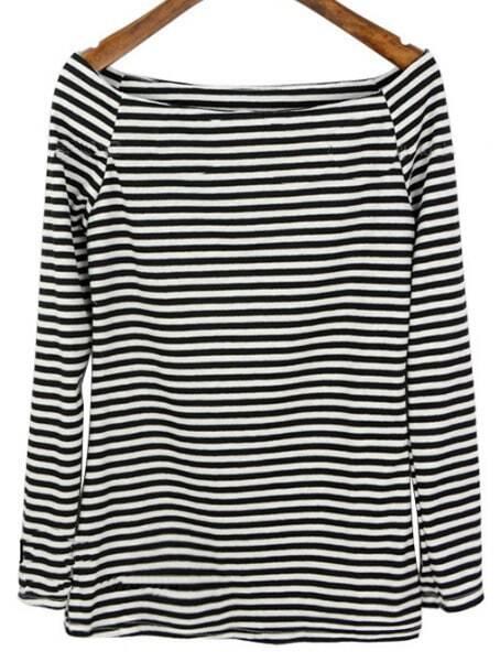 7e0c8bdb9ad Black White Striped Boat Neck Long Sleeve T-Shirt
