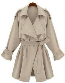 Beige Double Collar Storm Flaps Long Sleeve Trench Coat