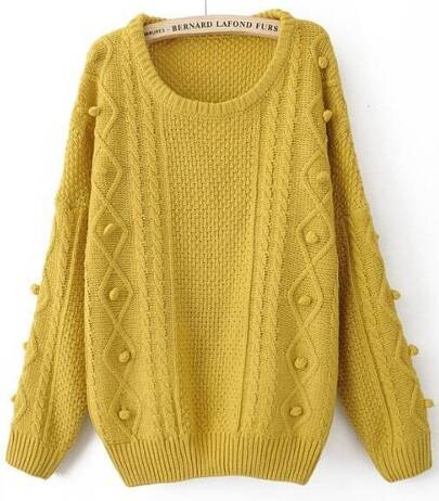 e3235071c3 Yellow Round Neck Long Sleeve Pom Embellished Pullovers Sweater