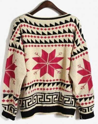 ba3d0c6156f622 Rose Red Long Sleeve Snowflake Tribal Print Sweater -SheIn(Sheinside)