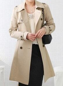 Khaki Lapel Long Sleeve Drawstring Waist Trench Coat