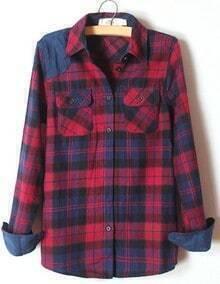Blue Lapel Long Sleeve Plaid Pockets Shirt