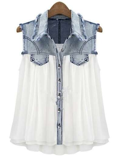 30648dbaad5 Stiching Denim Lapel Sleeveless White Chiffon Shirt