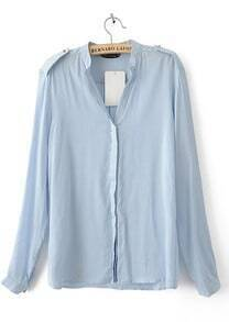 Blue V-neck Placket Long Sleeve Studded Blouse