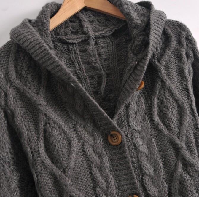 Dark Grey Hooded Long Sleeve Cardigan Sweater Coat -SheIn(Sheinside)