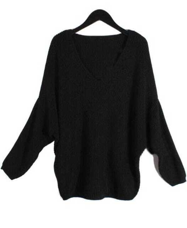 e0e315fab2 Black Batwing Long Sleeve V-neck Knitted Sweater. AddThis Sharing Buttons