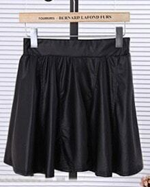 Black High Waist Elasic A Line PU Leather Skirt