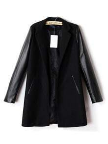 Black Lapel Contrast PU Leather Long Sleeve Coat
