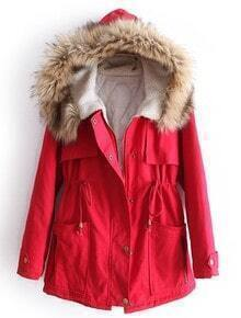 Red Fur Hooded Long Sleeve Drawstring Pockets Coat