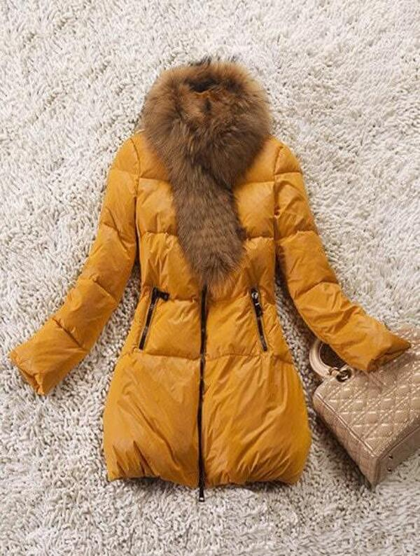 caa8d05b13 Yellow Fur High Neck Long Sleeve Zipper Pockets Down Coat | SHEIN