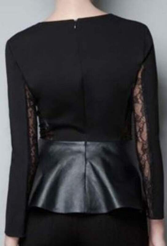 41e38bfb64 Black Lace Long Sleeve Contrast Leather Peplum Top. AddThis Sharing Buttons