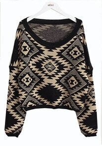 Geometric pattern round neck Bat-sleeved sweater