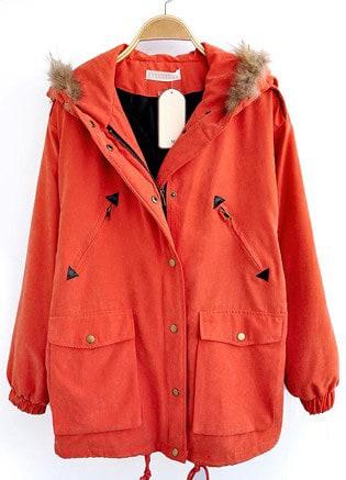 f3260e2abc Orange Fur Hooded Drawstring Pockets Loose Coat | SHEIN