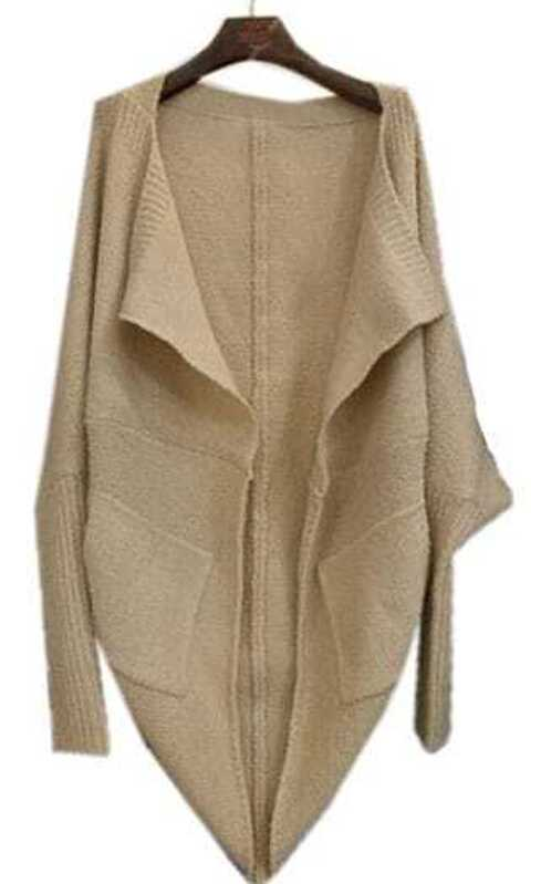 4c9c0d310 Apricot Lapel Batwing Long Sleeve Loose Cardigan Sweater -SheIn ...