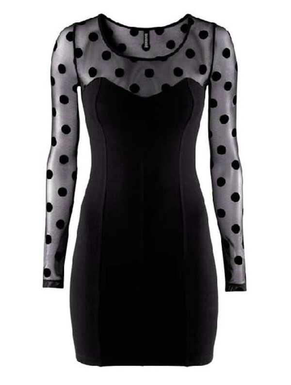 Black Sheer Mesh Yoke Long Sleeve Polka Dot Dress Sheinsheinside