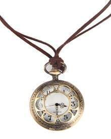 Gold Pocket Watch Circle Hollow Necklace