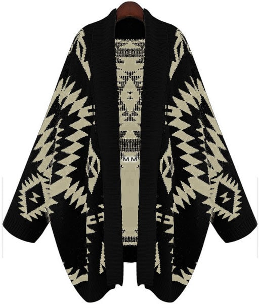 497ed533295 Black Batwing Long Sleeve Geometric Cardigan Sweater