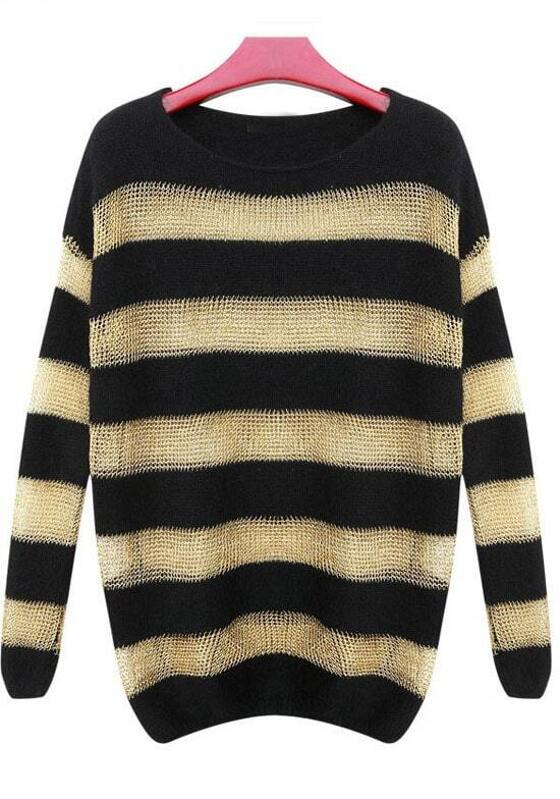 Black Yellow Striped Long Sleeve Loose Sweater Sheinsheinside