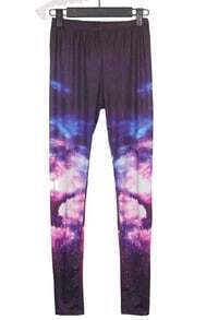 Dark Purple Galaxy Mid Waist Leggings