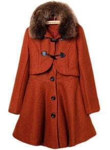 Orange Fur Lapel Long Sleeve Buttons Two Pieces Coat