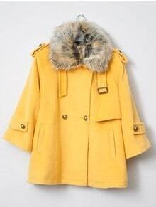 Yellow Fur Lapel Long Sleeve Pockets Coat
