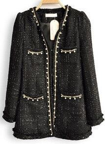 Black Long Sleeve Pearls Chain Embellished Coat