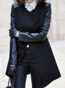 Black Contrast PU Leather Sleeve Double Lapel Zipper Coat