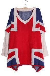 Beige and Red Batwing Sleeve UK Flag Pattern Loose Sweater
