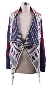 Navy Draped Collar Geo Tribal Pattern Open Cardigan
