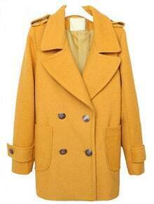 Yellow Lapel Long Sleeve Epaulet Buttons Coat