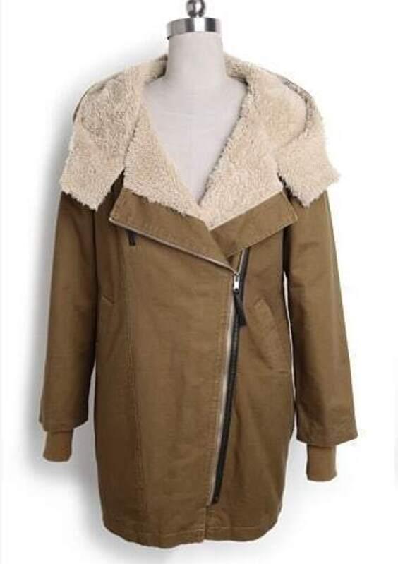 108fc388b3 Camel Hooded Long Sleeve Zipper Pockets Loose Coat -SheIn(Sheinside)