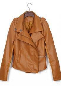Light Brown Long Sleeve Zipper PU Leather Coat