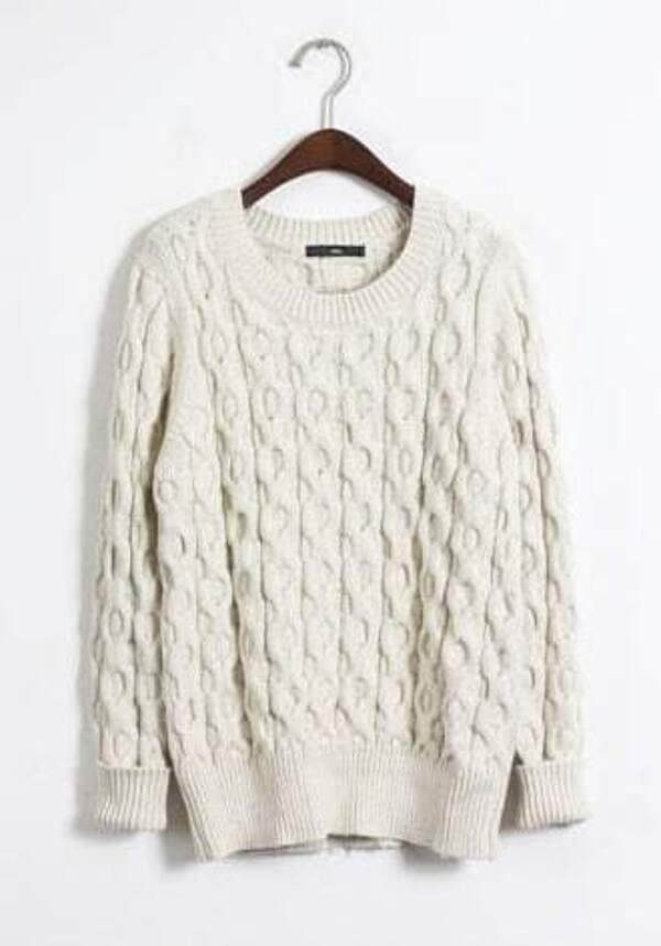 White Long Sleeve Cable Knit Pullover Sweater Sheinsheinside