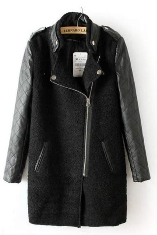 Black Contrast Leather Quilted Sleeve Zipper Coat Sheinsheinside