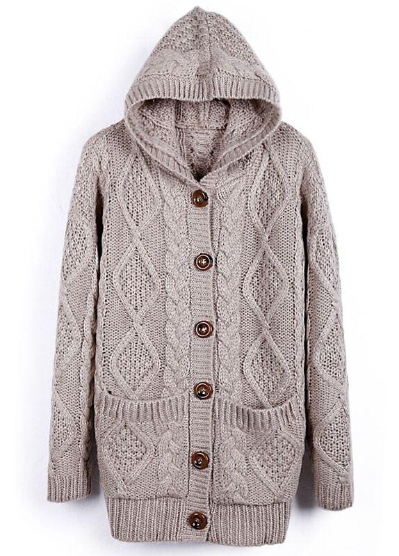 Light Coffee Hooded Long Sleeve Cardigan Sweater Coat Sheinsheinside