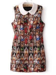 Black Sleeveless Figure Print Tank Dress
