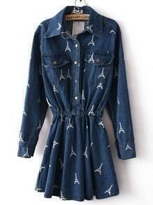 Navy Long Sleeve Eiffel Tower Pockets Denim Dress