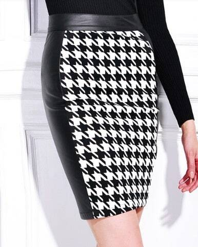 Black White Houndstooth Leather Back Midi Pencil Skirt -SheIn ...