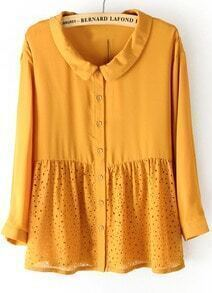 Yellow Long Sleeve Hollow Buttons Loose Blouse