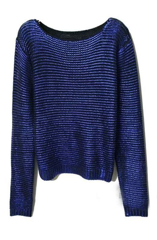 dbf8d6d551 Purple Round Neck Long Sleeve Striped Sweater -SHEIN(SHEINSIDE)
