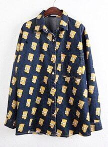 Navy Lapel Long Sleeve Simpson Print Denim Blouse