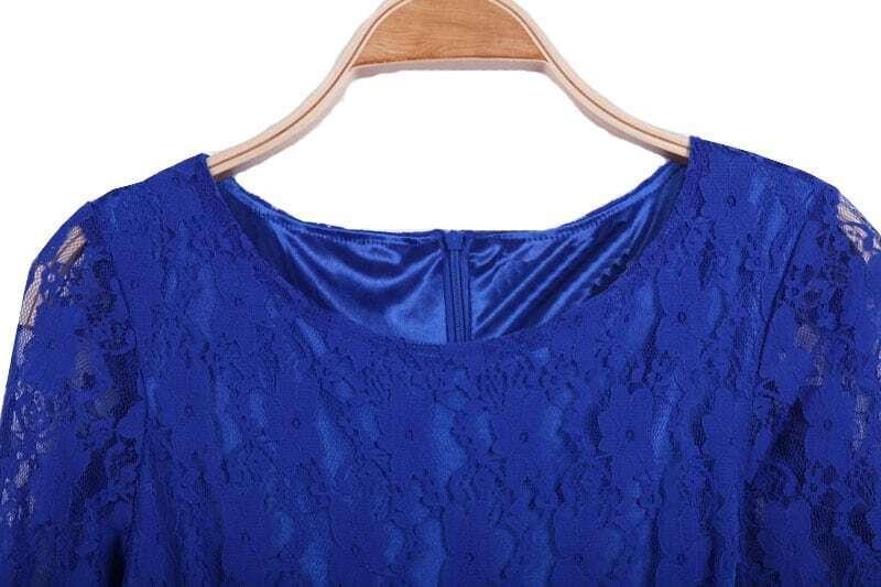 Royal Blue Contrast Lace Half Sleeve Skater Short Dress