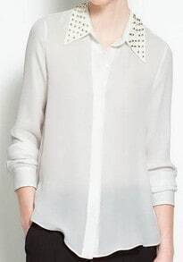 White Studded Collar Chiffon Sheer Blouse