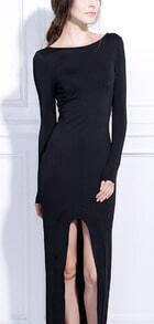 Black Long Sleeve Backless Split Front Maxi Dress