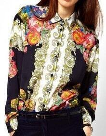 Navy Long Sleeve Retro Floral Buttons Blouse